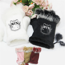 Fashion kpop bts bangtan boys shield mittens adjustable black pink cony hair winter gloves k-pop bts unisex guantes high quality