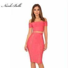 NICOLE BELLE  2017 new Summer women bandage dress pink two-piece party celebrities wear short-sleeved clothes at night