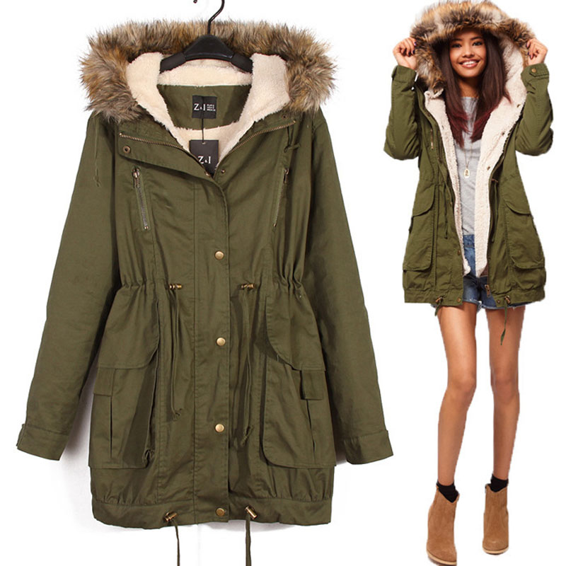 womens army green hooded fur collar coat parkas outwear 2 in 1 detachable lining winter uniform jacket TB94101030005Одежда и ак�е��уары<br><br><br>Aliexpress