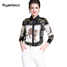 Ryseleco 2018 Spring New Style Long Sleeves Slim Tops Blouses Turn-Down Collar Casual Brand New Leopard Print Female Shirt Blusa(China)