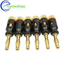 8Pcs Nakamichi 4mm Banana Plug Spiral Type 24K Gold Screw Stereo Speaker Audio Copper Terminal Adapter Electronic Connector