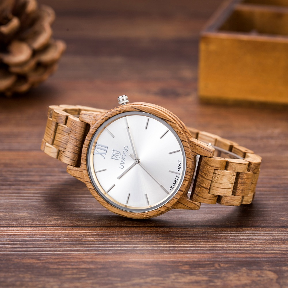 Fashion Hot sells Casual Watches Men Uwood W389A Full Natural Wood Round Wristwatch Quartz Analog Mens Wooden Watch As Gift<br>