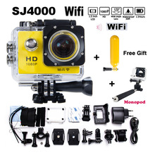 Best selling Free Gift+monopod hero 3 4 style SJ4000 WIFI 1080P HD DVR video camera Sport Helmet Action Camera Waterproof HD DV