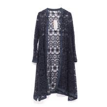 Outline Women Solid Blue Long Blouses Shirts Vintage Oversized Hollow Out Lace Loose Casual Lady Summer Thin Cardigans L142Y025(China)