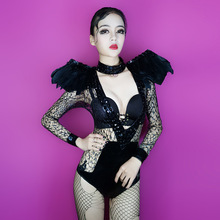 20017 fashion nightclub black sexy lace women costume singer Net yarn perspective bodysuit Black Diamond feather performing wear(China)