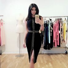 Buy 2017 Summer Bandage Dress Women Sleeveless O-Neck Evening Party Black Dress Gold Beading Split Bodycon Sexy Dress Wholesale for $39.13 in AliExpress store