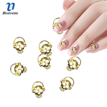 Blueness 10Pcs Golden Alloy Glitter 3D Nail Art Skull Decorations with Rhinestones,Alloy Nail Charms TN947