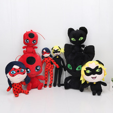15-30cm Miraculous Ladybug and Cat Noir Juguetes Toy Doll Lady Bug Adrien Marinette Plagg Tikki Plush Doll gifts for kids(China)