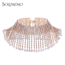 Solememo Luxury Paved Rhinestone Statement Necklace Wide Silver Gold Choker Necklace for Women Wedding Fashion Jewelry N5950(China)