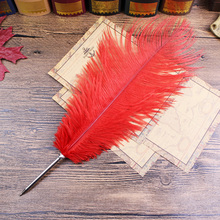 Red Ostrich feather Gift Item,stationery ball pen(China)