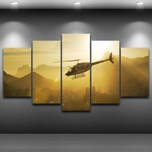 Canvas Art Print Artwork Modular Painting 5 Panels Helicopter Poster Wall Picture For Home Decoration Kids Room Unframed(China)