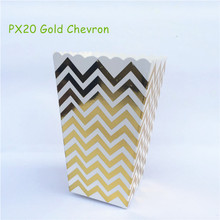 12pcs/lot Metalic Gold Chevron Paper Popcorn Boxes Pop Corn Favor Bags for Candy Snack Wedding Birthday Party Tableware Supplies