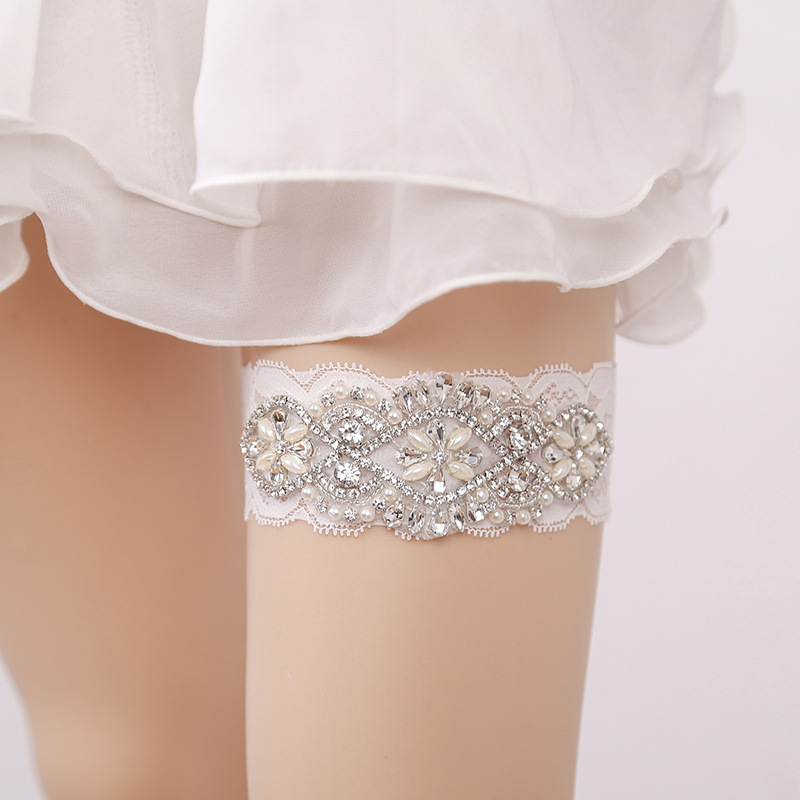 Garter White Embroidery Flower Beading Rhinestone Female Wedding Garters For Bride Rubber Lace Band Bridal Leg Garters Wg009 Garters Women's Intimates