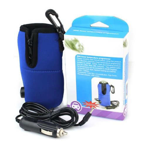 DC 12V Blue Portable Baby Feeding Car Milk Water Bottle Cup Warmer Heater