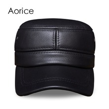 HL087 Men's genuine leather baseball cap brand new Russian warm real  leather golf caps hats