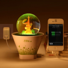 Music Box Shaped Rechargeable USB Night Light Happy Pot Lamp Creative Romantic Lights Atmosphere Lights US PLUG