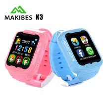 Makibes K3 Kids GPS SmartWatch MTK2503 Touch Screen Deep Waterproof Google Map SOS Button Smart Watch For Child GPS Locator