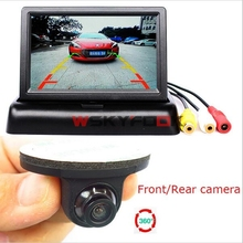 360 Degree Rear Front View CCD Backup Camera Night Vision&4.3 Inch LCD Car Reverse Parking System Monitor