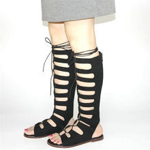 b30ba0ab34f NAYIDUYUN Casual Shoes Women Faux Suede Lace Up Straps Knee High Roman  Gladiator Sandals Low Heel Summer Party Oxfords