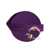 "GOYIBA 5 Yard 5/8"" 1.5cm Plum Color FOE Foldover Elastics Spandex Satin Kids Hairband Headband Lace Trims Sewing Notion MR006507(China)"
