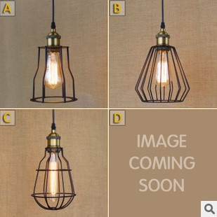 Edison Retro Loft Industiral Lamps Vintage Pendant Light Fixtures With Black Lampshade Lamparas De Techo Colgantes<br>