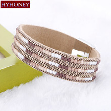 Hot sale 2017 Boho Leather Bracelets Bangles With Magnetic Buckle Wrap Jewelry Color Beads Charm Chain For Women Pulseras mujer