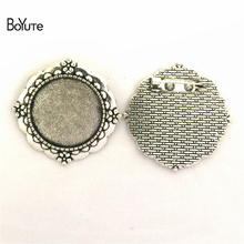 BoYuTe (20 Pieces/Lot) 25MM Inner Size 3 Colors Zinc Alloy Materials Brooch Base Cameo Cabochon Bezel Charms for Jewelry Making