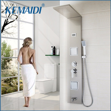 KEMAIDI Wall Mounted Shower Panel Faucet Rainfall Waterfall 3 Part Body Massage Single Handle Stainless Steel Bath Shower Column(China)