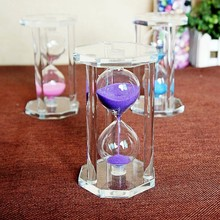 Hexagonal crystal glass sand hourglass countdown timing sand clock timer home decoration craft gift