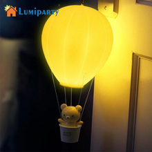 LumiParty Dimmable Hot Air Balloon LED Night Light Children Baby Nursery Lamp With Touch Switch USB Rechargeable Wall Lamp(China)
