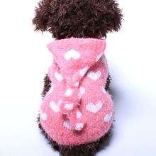 Small Pet Dog Sweater Jumper Hearts Jacquard Cat  Puppy Coat Jacket  Warm Clothes 6 sizes