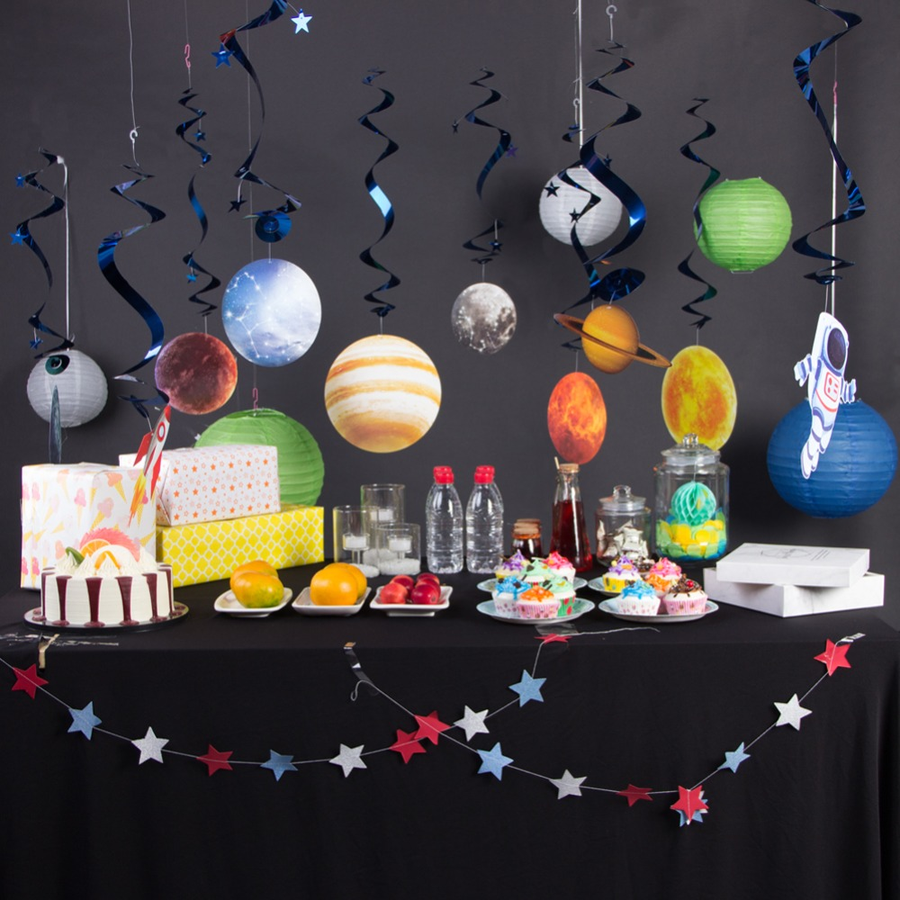 Solar System Hanging Swirl Decorations Outer Space Party Planet Supplies 10pcs