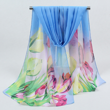 Summer printing long women silk scarf hijab Winter girls polyester shawl female silk Scarves 4950(China)