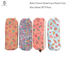 1pcs Fashion Mini Retro Flower Floral Lace Pencil case pen bag Multi-Function Zipper Pencil Holder Bag Gift Stationery(China)