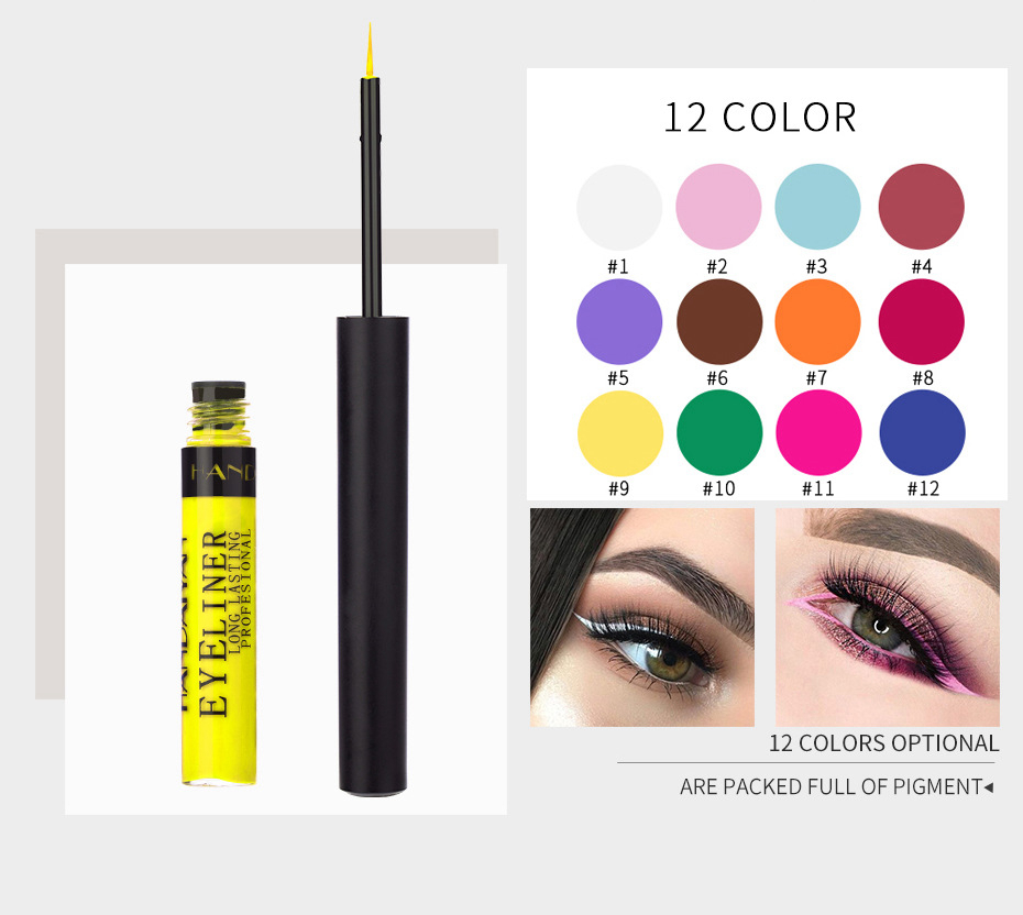 12 Color Eyeliner Liquid Waterproof Easy To Wear Make Up Matte Eye Liner Blue Red Green White Gold Brown Eyliner 1