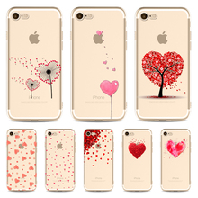 Simple Fresh watercolor phone Cases For Iphone 6 6s 6Plus 7 7s 7plus Soft TPU Silicon Ultra-Thin Heart Phone Cover Case(China)