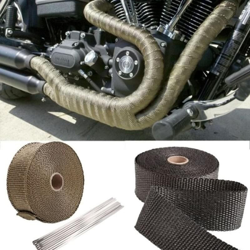 Exhaust-Wrap-Tape Motorcycle-Accessories Turbo-Manifold-Heat Car Incombustible Thermal-Stainless-Ties title=