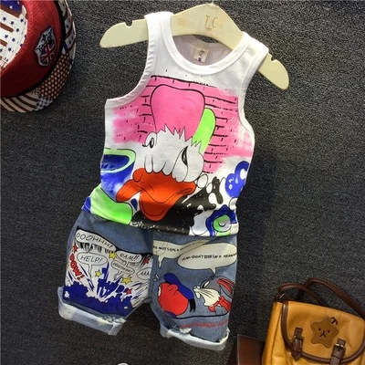 2016 summer Europe fashionable The boy cartoon cartoon + sleeveless vest jeans boys clothes suit childrens birthday gift<br>