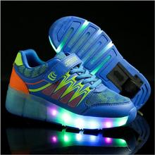Wheel Glowing Sneakers LED Light Shoes Boys Girls Toddler/Little Kids/Big Kids Flashing Board Rechargeable Casual Breathable(China)