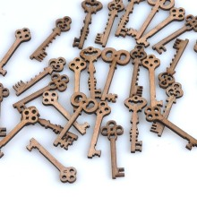 50pcs/set New Random Mixed natural Keys Decorative Scrapbooking Wooden Crafts Accessories Brand 11x40mm MT0915(China)
