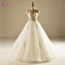 Buy Waulizane Silky Tulle Beading Crystals Pearls Sweetheart Sash Wedding Dresses Sleeveless Floor-Length Ball Gown Bride Gowns for $188.72 in AliExpress store