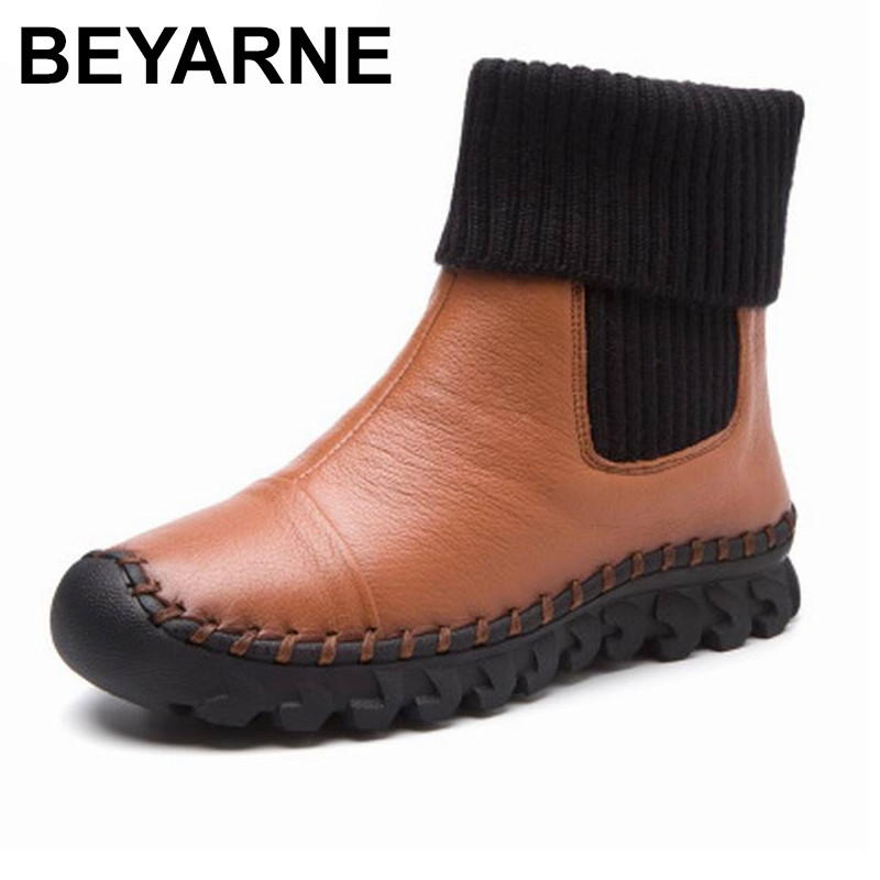 BEYARNE  New 2018 Women Winter Ankle Boots Handmade Velvet Flat With Boots Shoe Comfortable Casual Shoes Women Snow Boots<br>