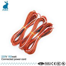 12K 8meters 183W 33ohm carbon fiber heating wire Heating cable Connected power cord Low cost silicone rubber heating wire