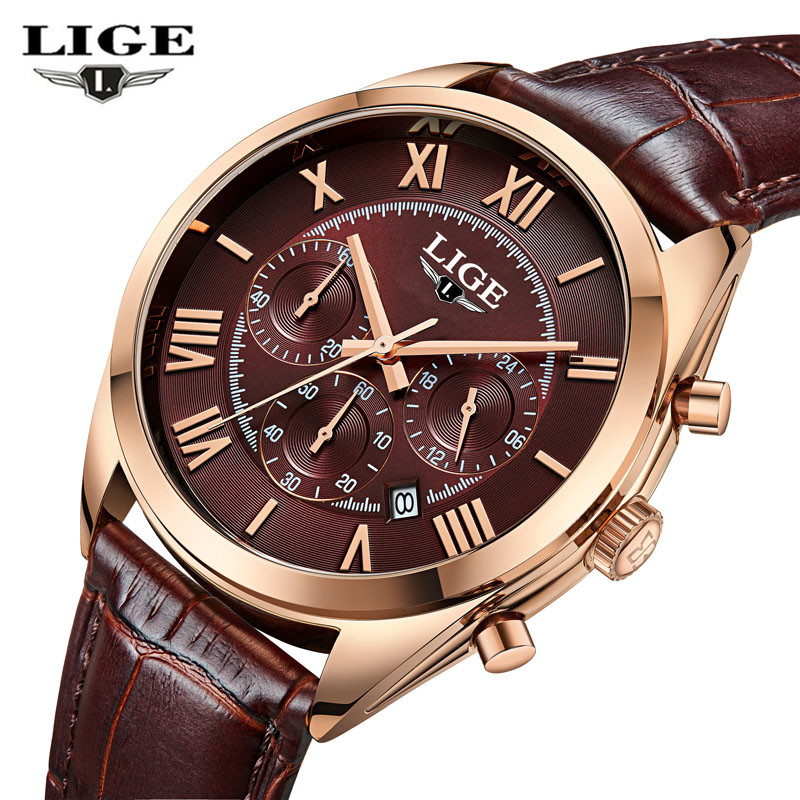 2017 Mens Watches Top Brand De Luxe LIGE Mens Leather Quartz Watch Mens Fashion Waterproof Casual Watches relogio masculino<br><br>Aliexpress