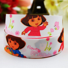 7/8'' (22mm) Dora Cartoon Character printed Grosgrain Ribbon party decoration ribbons OEM X-00813 10 Yards