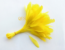 New Yellow colour.14-19cm cocktail feather for fascinator church hat /sinamay hat/party mask/wedding hat,14 colors.
