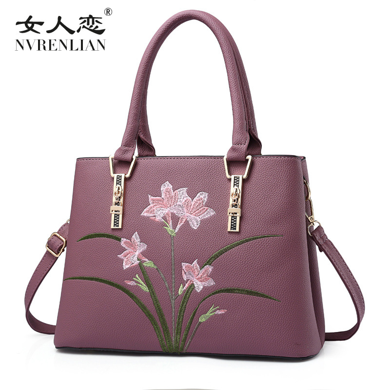 2017 New Women Handbag Fashion Woman Bags Embroidery Flower Shoulder Brands Designer PU Leather Crossbody Bags Sac A Main<br>