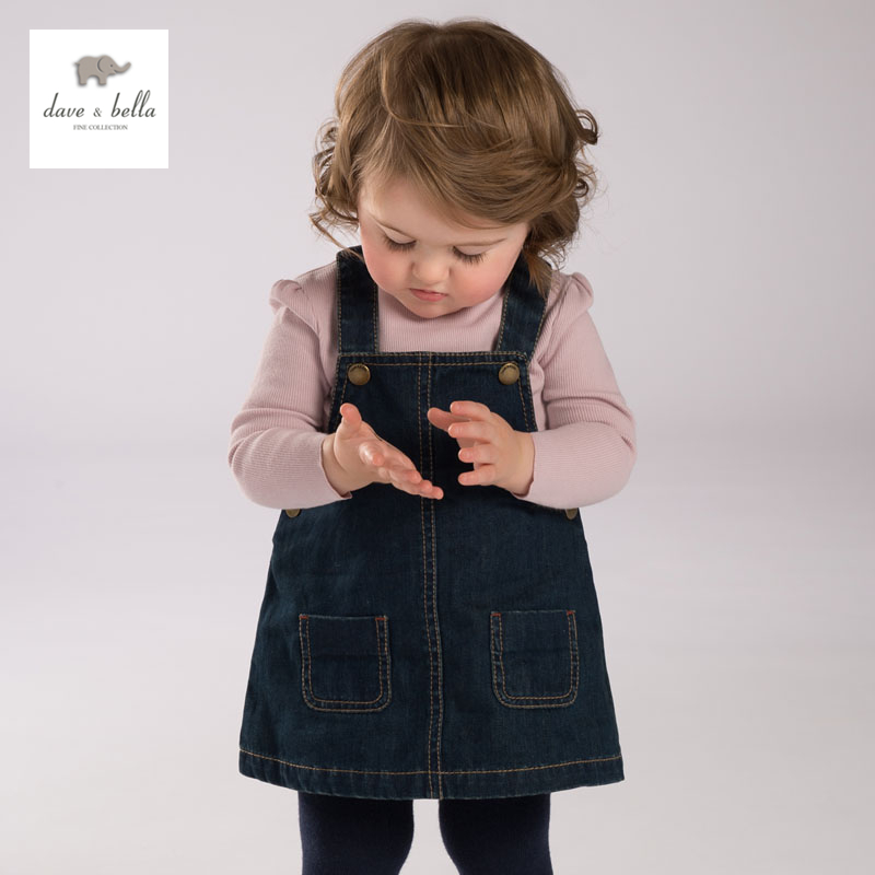 DB3699 dave bella  autumn baby girl jeans dress kids jeans baby denim dress<br>