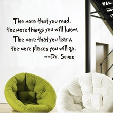 The More That You Read Quotes Dr Seuss Wall sticker Mural Quotes Saying Wall Stickers Home Decor Kids Room Text Wall Decals