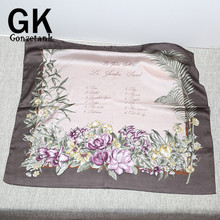 GONZETANNK Luxury Brand 2017 Women Beautiful Scarves Small Square Multi-purpose White Cashew Flower Retro Silk Chiffon Scarf